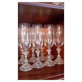 Set of 8 Crystal Champagne Flutes