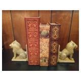Lion Bookends & 3 Faux Book Boxes