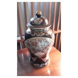 Oriental Themed Painted Porcelain Urn