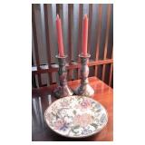 Painted Porcelain  Candlesticks & Plate
