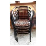 Stackable Metal and Wicker/Cane Chairs