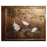 Framed Crane Painting by B. Joseph