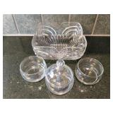 Etched Glass Bowl & Candy Dishes