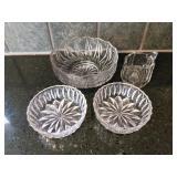 Glass Bowls & Cream Pitcher