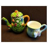 Hand-painted Tea Pot & Mug