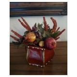 Leather Planter & Faux Fruit and Flowers