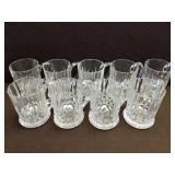 Set of 9 Cut Glass Mugs