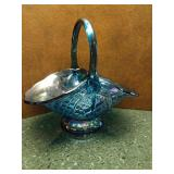 Blue Carnival Glass Basket