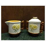 Hand Painted Yellow Daisy Cream & Sugar Set