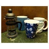 French Press & Blue Mugs