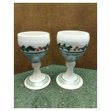 Handmade Holiday Pottery Goblets