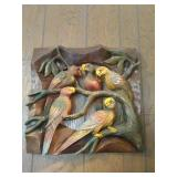 Parrot Wood Carved Wall Hanging