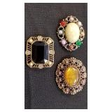 Rhinestone and Stone Style Brooches