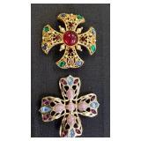Rhinestone Cross Brooches