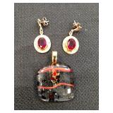 Gold tone and Red Stone Slide and Earrings