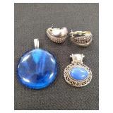 Silver tone & Cobalt Blue Stone Slides &