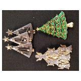 Christmas Tree Brooch Lot