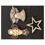 Angel and Star Brooches