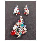 Rhinestone Brooch and Earrings