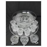 Glass Punch Bowl, Platter & Cup Set