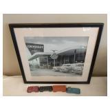 Chevy Dealership Photo & Die Cast Train Cars
