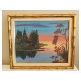 Original Framed Sunset Oil Painting