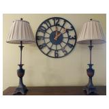 Pair of Tall Table Lamps & Wall Clock