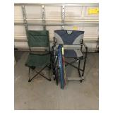 Tailgating Chairs and three umbrellas