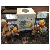 Pooh tissue box and figurines