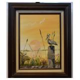 IRWIN, A PELICAN IN SUNSET, OIL ON CANVAS, SIGNED
