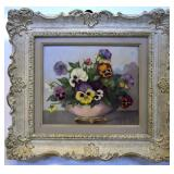 MARJORY FRITH, PANSIES, OIL ON CANVAS BOARD