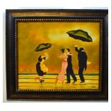 A COUPLE DANCING ON THE BEACH, OIL ON CANVAS