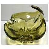 GREEN SIGNED CHALET GLASS ASHTRAY, 8 X 9 IN HIGH