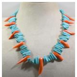"""TURQUOISE & CORAL NECKLACE 19""""L"""