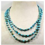 SQUARE TURQUOISE BEADS 3 STRAND NECKLACE WITH
