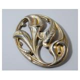 STERLING BROOCH WITH LILIES