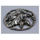 STERLING OVAL BROOCH WITH ACORNS