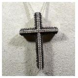 STERLING CROSS WITH DIAMONDS & STERLING CHAIN