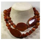 """RED AGATE NECKLACE, 31""""L"""