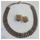 """COPPER NECKLACE AND EARRING SET - 18"""" - VINTAGE"""