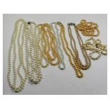 WHITE BEAD NECKLACES, ASSORTED SIZES