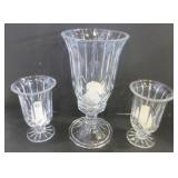"""SET OF GLASS CANDLE HOLDERS - 6.5"""", 12"""""""