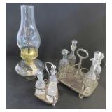 "GLASS OIL LANTERN (14.5""), CRUETS AND SP CADDIES"