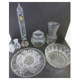 GLASSWARE - CHIP AND DIP SET, GALILEO THERMOMETER,