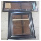 WALL MIRRORS IN BLACK FRAMES - ONE WITH HOOKS
