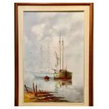 OIL ON CANVAS SIGNED L MALLOT - SHIPS
