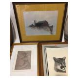 THREE FRAMED PRINTS - FARM, COUGAR, SCETCH PEOPLE