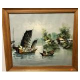 OIL ON CANVAS UNSIGNED - BADLY REFRAMED