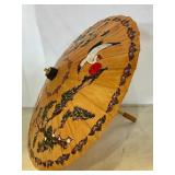 HAND PAINTED JAPANESE PARASOL WITH BAMBOO HANDLE