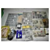 CONTAINERS OF BOLTS, SCREWS, DOLLY WHEELS, ETC.